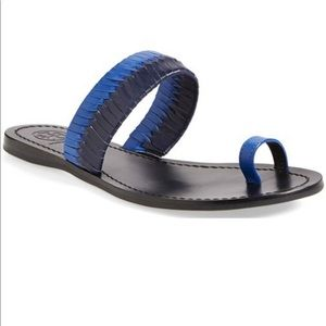 Tory Burch Two Tone Woven Leather Sandal Toe Ring
